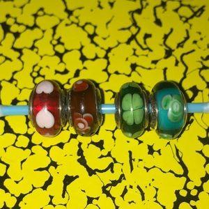 Accessories - Set of 4 Murano pandora glass beads